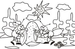 Ant, coloring book, vector illustration. Coloring page for Kids , an ant family. Vector icon stock illustration