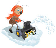 Ant domestic snow-plow. Snow thrower Royalty Free Stock Photos