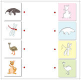 Ant-eater, dragonfly, emu and kangaroo. Educational game for kid Royalty Free Stock Image