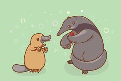 The ant-eater and the platypus are brushing their teeth and... beak. Illustration of oral hygiene Royalty Free Stock Photo