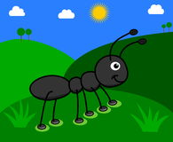 Ant in a field with sunny day. Illustration Stock Photo