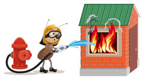 Ant firefighter extinguishes house. Illustration in vector format Stock Images