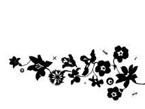 Ant and flowerses. Vector black ant and flowerses on white background Royalty Free Stock Photo