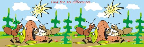 Ant, game, find ten differences. Game for the children. Find ten differences. Ants Royalty Free Stock Images