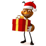 Ant with gift Xmas Stock Image