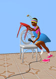 Ant girl towering two chairs and preparing for a speech. An ant girl towering two chairs and preparing for a speech, over a blue background, 3D illustration Stock Image