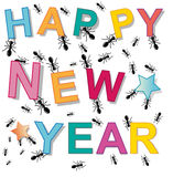 Ant happy new year. Project Royalty Free Stock Image