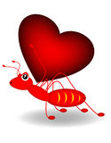Ant and heart Royalty Free Stock Image