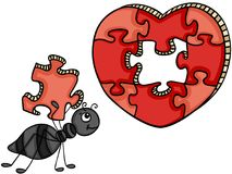 Ant with heart shaped puzzle Royalty Free Stock Photo