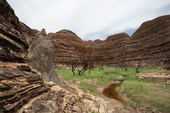 Ant Hills on Beehive Dome Formations, Bungle Bungles. Landscape view of the South edge of the massif, with Ant Hills on Beehive Dome Formations, Bungle Bungles stock photo
