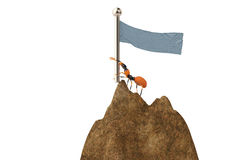 The ant holding a flag at the mountain.3D illustration. Stock Photo