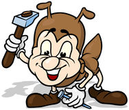 Ant Holding Hammer e prego Imagem de Stock