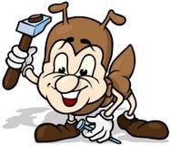 Ant Holding Hammer und Nagel Stockbild