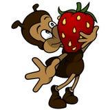 Ant Holding Strawberry Lizenzfreie Stockbilder