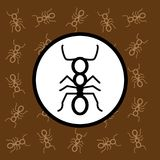 Ant icon sign and symbol on brown background Royalty Free Stock Images