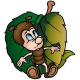 Ant with Leaf. (Ant 10) cartoon illustration as vector Stock Images