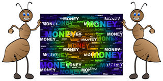 Ant with money banner Stock Images