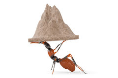 The ant move the mountain.3D illustration. Royalty Free Stock Image