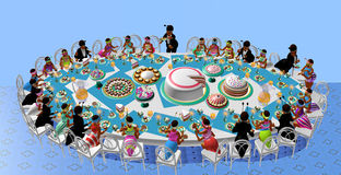 Ant party table. An ant party table, ants having a celebration, cartoon style, over a blue background, 3D illustration, raster illustration Royalty Free Stock Photos