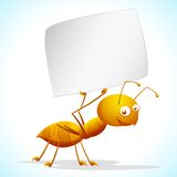 Ant with Placard Royalty Free Stock Photography