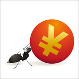 Ant pushing big symbol of Yuan Royalty Free Stock Images