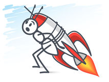Ant and the rocket Royalty Free Stock Photo