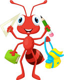 Ant with school supplies Stock Photos