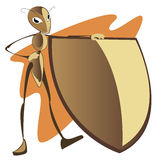 Ant with a shield Stock Photo