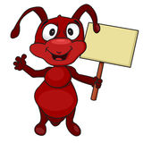 Ant with a sign Royalty Free Stock Photo