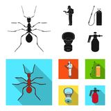 Ant, staff in overalls and equipment black, flat icons in set collection for design. Pest Control Service vector symbol. Stock  illustration Stock Photography