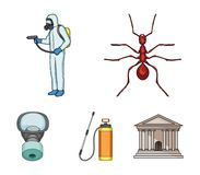 Ant, staff in overalls and equipment cartoon icons in set collection for design. Pest Control Service vector symbol. Stock  illustration Royalty Free Stock Photo