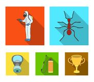 Ant, staff in overalls and equipment flat icons in set collection for design. Pest Control Service vector symbol stock. Illustration Royalty Free Stock Photos
