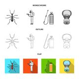 Ant, staff in overalls and equipment flat,outline,monochrome icons in set collection for design. Pest Control Service. Vector symbol stock  illustration Royalty Free Stock Photo