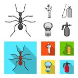 Ant, staff in overalls and equipment monochrome,flat icons in set collection for design. Pest Control Service vector. Symbol stock  illustration Royalty Free Stock Photography