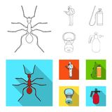 Ant, staff in overalls and equipment outline,flat icons in set collection for design. Pest Control Service vector symbol. Stock  illustration Stock Image