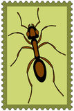 Ant on stamp Royalty Free Stock Photos