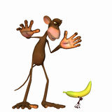 Ant Stealing a Banana. An ant running off with a monkey's banana Stock Image
