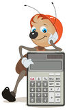 Ant superintendent shows on calculator. Illustration in vector format Stock Image