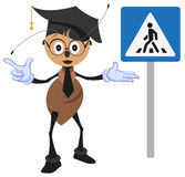 Ant teacher explains rules of road. Pedestrian crossing sign. How to cross street Royalty Free Stock Photography
