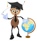 Ant teacher holding globe. Geography teacher Stock Photo