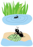 Ant on leave vector illustration Royalty Free Stock Photos