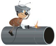 Ant Welder schweißt Rohr Lizenzfreie Stockfotos