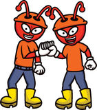 Ant Workers Shaking Hands Cartoon Lizenzfreie Stockfotografie