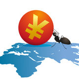 Ant with Yuan sign on map. Illustration of ant rolling Chinese Yuan sign over map of Asia towards Europe and Africa, business concept royalty free illustration