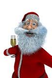 Anta Claus med exponeringsglas av champagne Arkivfoton