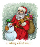 Anta Claus and snowman Royalty Free Stock Photo