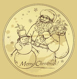 Anta Claus and snowman Royalty Free Stock Image