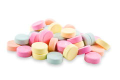 Antacid Tablets. A pile of colorful, generic antacid tablets Royalty Free Stock Photos