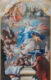Antagande av jungfruliga Mary målarfärg från altaret av kapellet i den helgonAnton slotten av Anton Schmidt från år 1750 - 1752 royaltyfri bild
