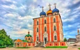 Antagandedomkyrka av den Ryazan Kreml i Ryssland Arkivbilder